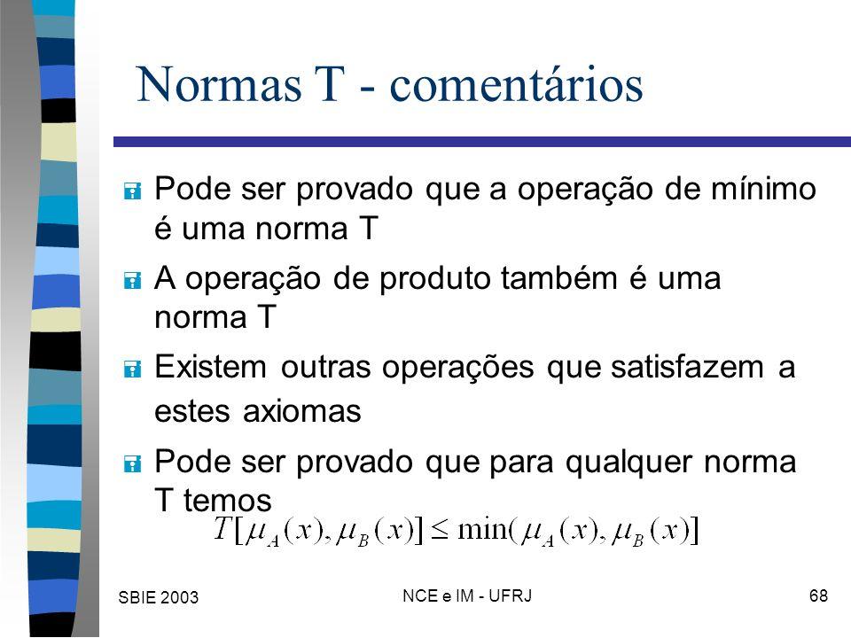 SBIE 2003 NCE e IM - UFRJ 68 Normas T - comentários = Pode ser provado que a operação de mínimo é uma norma T = A operação de produto também é uma norma T = Existem outras operações que satisfazem a estes axiomas = Pode ser provado que para qualquer norma T temos