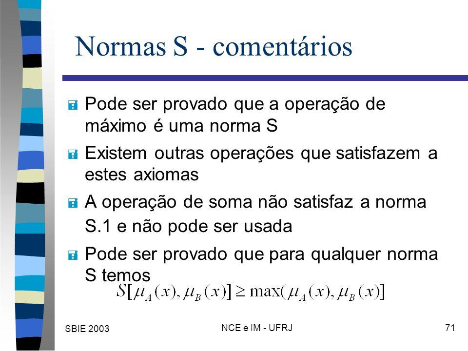 SBIE 2003 NCE e IM - UFRJ 71 Normas S - comentários = Pode ser provado que a operação de máximo é uma norma S = Existem outras operações que satisfazem a estes axiomas = A operação de soma não satisfaz a norma S.1 e não pode ser usada = Pode ser provado que para qualquer norma S temos