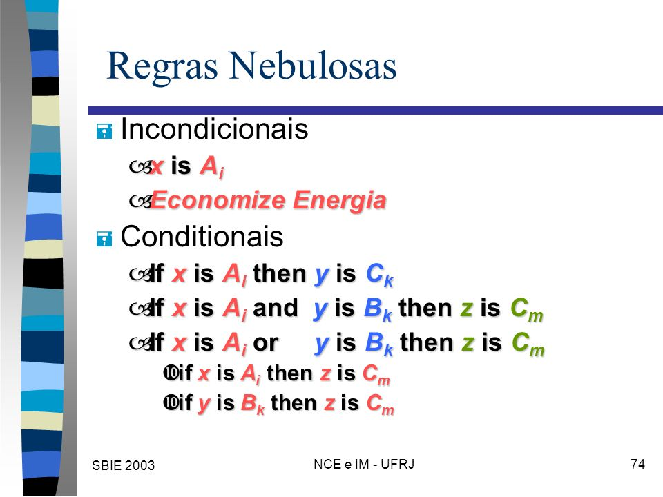 SBIE 2003 NCE e IM - UFRJ 74 Regras Nebulosas = Incondicionais –x is A i –Economize Energia = Conditionais –If x is A i then y is C k –If x is A i and