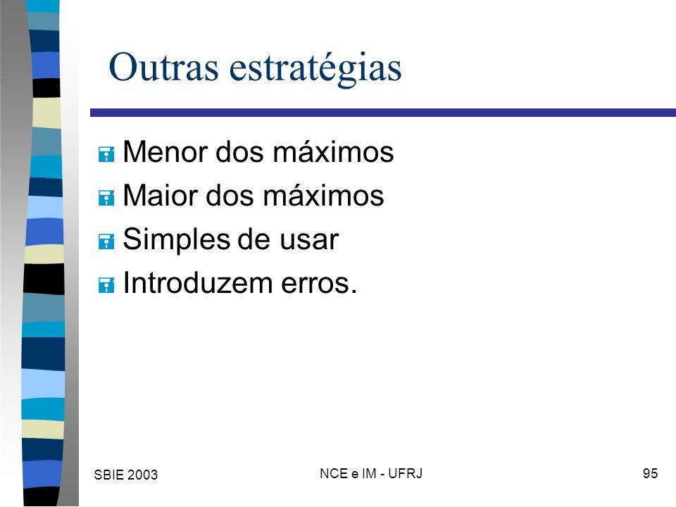 SBIE 2003 NCE e IM - UFRJ 95 Outras estratégias = Menor dos máximos = Maior dos máximos = Simples de usar = Introduzem erros.