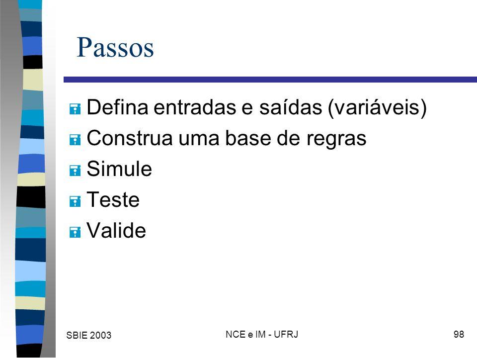 SBIE 2003 NCE e IM - UFRJ 98 Passos = Defina entradas e saídas (variáveis) = Construa uma base de regras = Simule = Teste = Valide