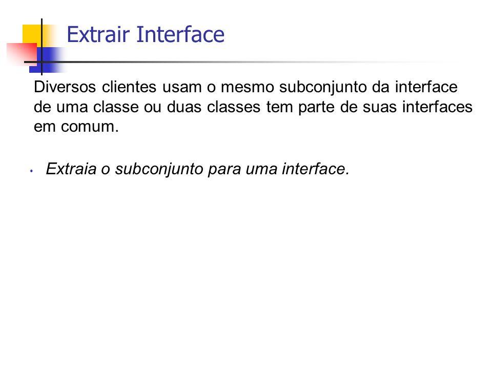 Diversos clientes usam o mesmo subconjunto da interface de uma classe ou duas classes tem parte de suas interfaces em comum. Extraia o subconjunto par