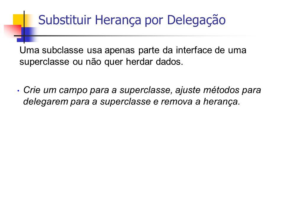 Uma subclasse usa apenas parte da interface de uma superclasse ou não quer herdar dados. Crie um campo para a superclasse, ajuste métodos para delegar