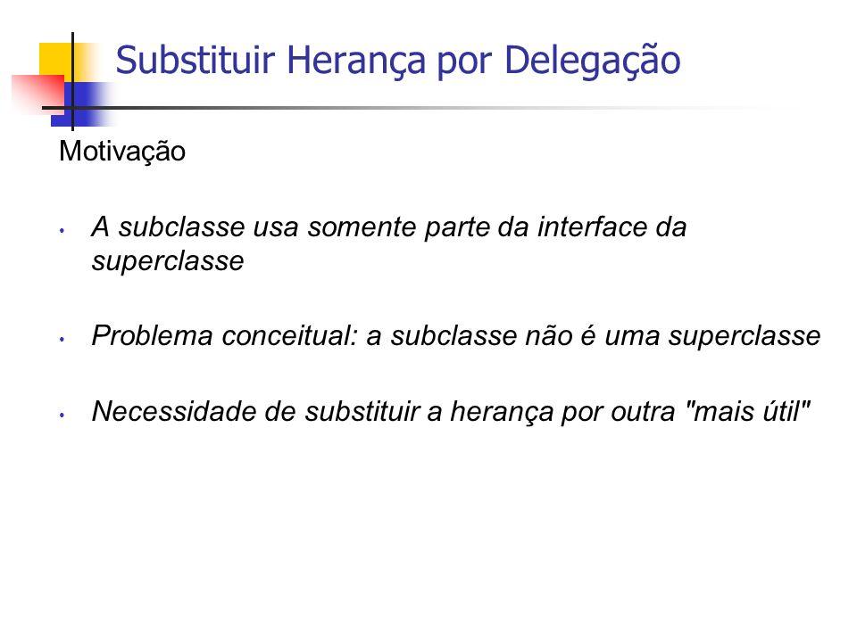 Substituir Herança por Delegação Motivação A subclasse usa somente parte da interface da superclasse Problema conceitual: a subclasse não é uma superc