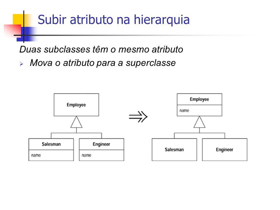 Duas subclasses têm o mesmo atributo Mova o atributo para a superclasse