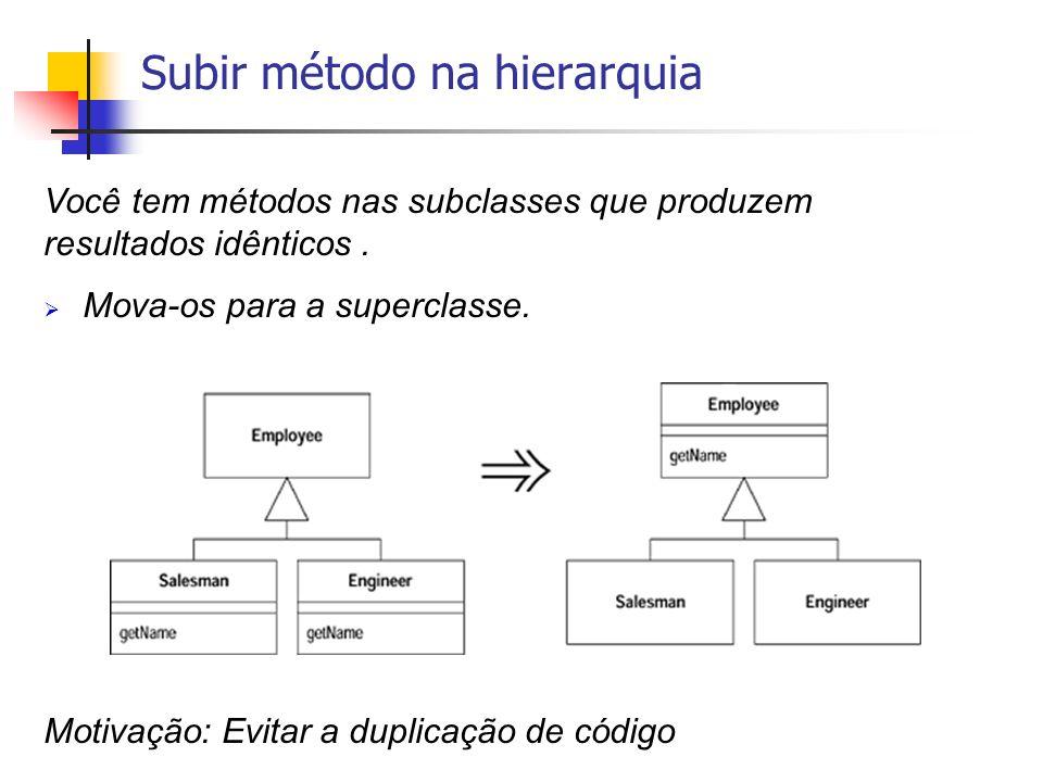 Você tem métodos nas subclasses que produzem resultados idênticos. Mova-os para a superclasse. Motivação: Evitar a duplicação de código