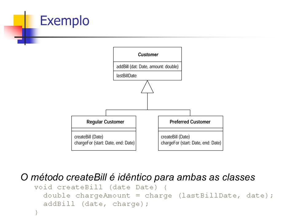 Exemplo Não posso mover o método createBill na hierarquia porque o método chargeFor é diferente em cada subclasse Solução: declarar o método chargeFor como abstrato na superclasse