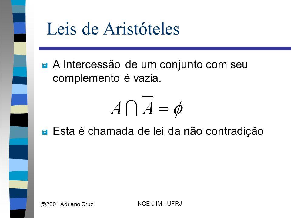 @2001 Adriano Cruz NCE e IM - UFRJ Leis de Aristóteles = A Intercessão de um conjunto com seu complemento é vazia.