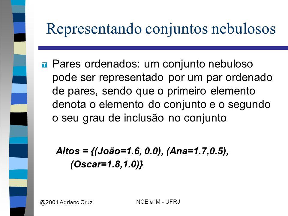 @2001 Adriano Cruz NCE e IM - UFRJ Representando conjuntos nebulosos = Pares ordenados: um conjunto nebuloso pode ser representado por um par ordenado de pares, sendo que o primeiro elemento denota o elemento do conjunto e o segundo o seu grau de inclusão no conjunto Altos = {(João=1.6, 0.0), (Ana=1.7,0.5), (Oscar=1.8,1.0)}