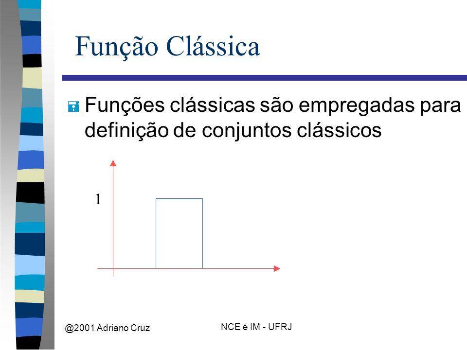 @2001 Adriano Cruz NCE e IM - UFRJ Função Clássica = Funções clássicas são empregadas para definição de conjuntos clássicos 1