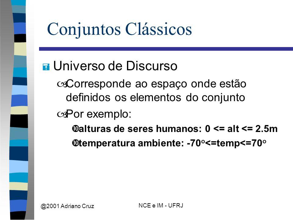 @2001 Adriano Cruz NCE e IM - UFRJ Conjuntos Clássicos = Universo de Discurso –Corresponde ao espaço onde estão definidos os elementos do conjunto –Por exemplo: •alturas de seres humanos: 0 <= alt <= 2.5m •temperatura ambiente: -70 o <=temp<=70 o