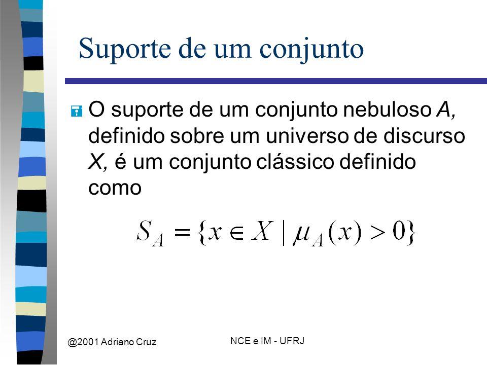 @2001 Adriano Cruz NCE e IM - UFRJ Suporte de um conjunto = O suporte de um conjunto nebuloso A, definido sobre um universo de discurso X, é um conjunto clássico definido como