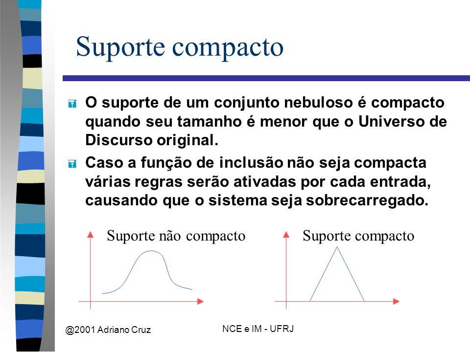@2001 Adriano Cruz NCE e IM - UFRJ Suporte compacto = O suporte de um conjunto nebuloso é compacto quando seu tamanho é menor que o Universo de Discurso original.