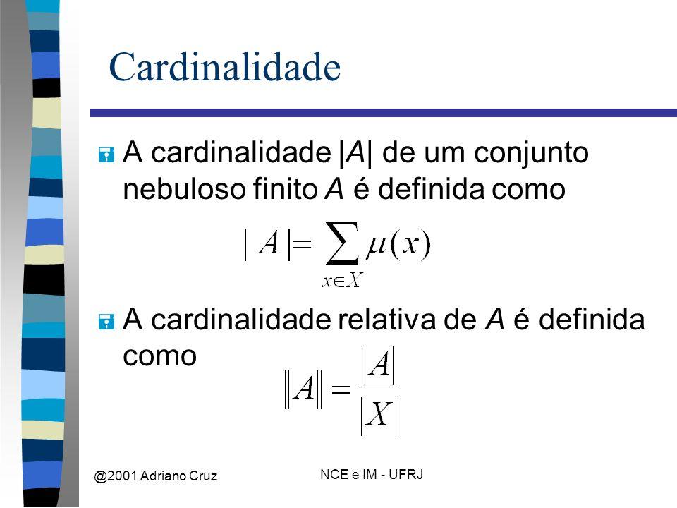 @2001 Adriano Cruz NCE e IM - UFRJ Cardinalidade = A cardinalidade |A| de um conjunto nebuloso finito A é definida como = A cardinalidade relativa de A é definida como