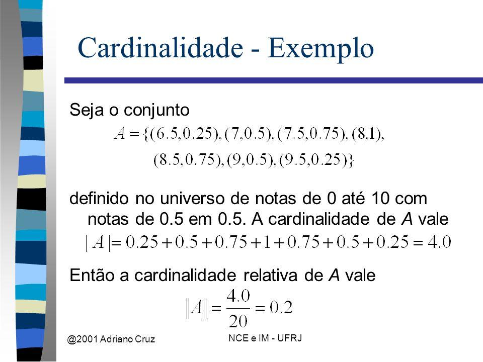@2001 Adriano Cruz NCE e IM - UFRJ Cardinalidade - Exemplo Seja o conjunto definido no universo de notas de 0 até 10 com notas de 0.5 em 0.5.