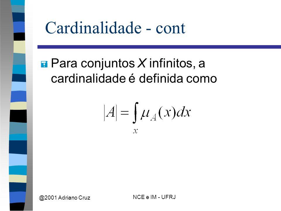 @2001 Adriano Cruz NCE e IM - UFRJ Cardinalidade - cont = Para conjuntos X infinitos, a cardinalidade é definida como