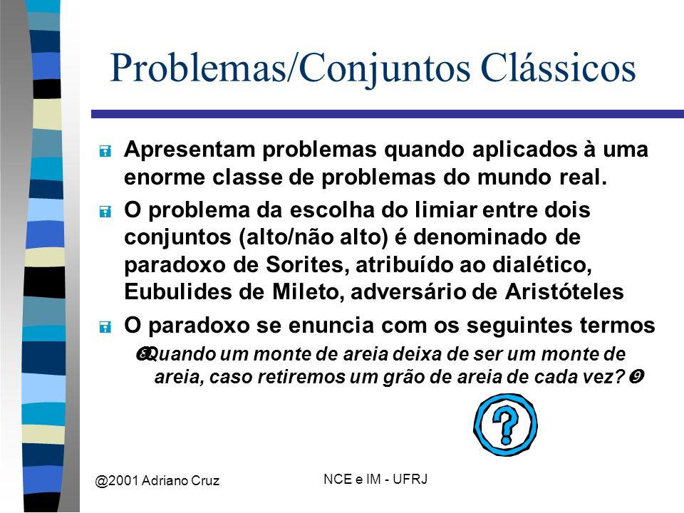 @2001 Adriano Cruz NCE e IM - UFRJ Problemas/Conjuntos Clássicos = Apresentam problemas quando aplicados à uma enorme classe de problemas do mundo real.