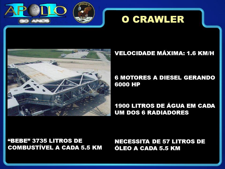 VELOCIDADE MÁXIMA: 1.6 KM/H 6 MOTORES A DIESEL GERANDO 6000 HP 1900 LITROS DE ÁGUA EM CADA UM DOS 6 RADIADORES O CRAWLER NECESSITA DE 57 LITROS DE ÓLEO A CADA 5.5 KM BEBE 3735 LITROS DE COMBUSTÍVEL A CADA 5.5 KM