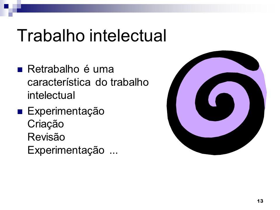 13 Trabalho intelectual Retrabalho é uma característica do trabalho intelectual Experimentação Criação Revisão Experimentação...