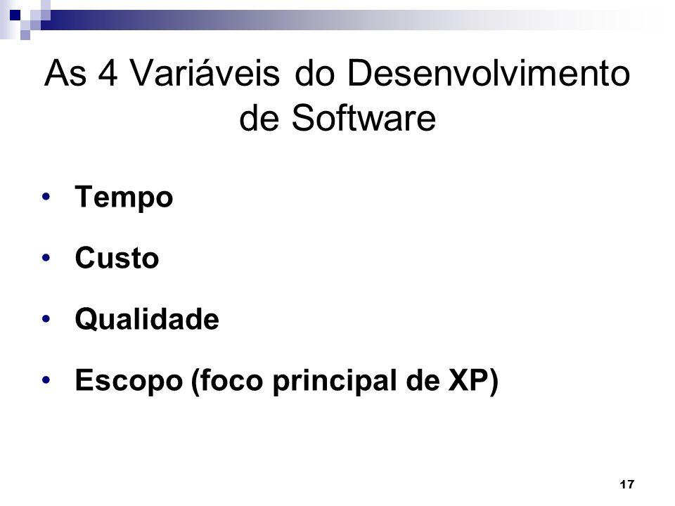 17 As 4 Variáveis do Desenvolvimento de Software Tempo Custo Qualidade Escopo (foco principal de XP)