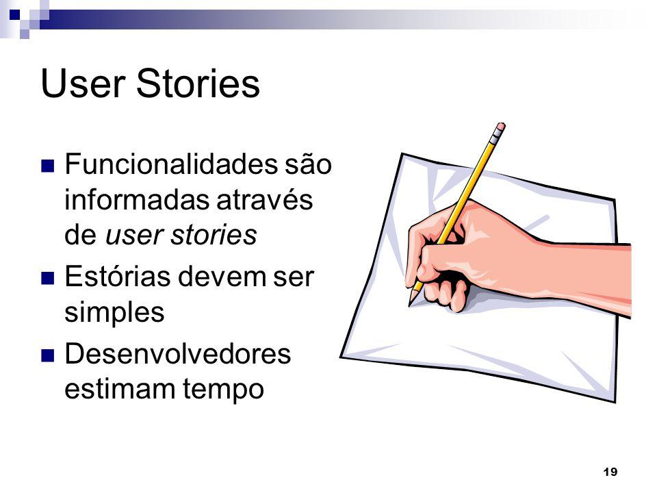 19 User Stories Funcionalidades são informadas através de user stories Estórias devem ser simples Desenvolvedores estimam tempo