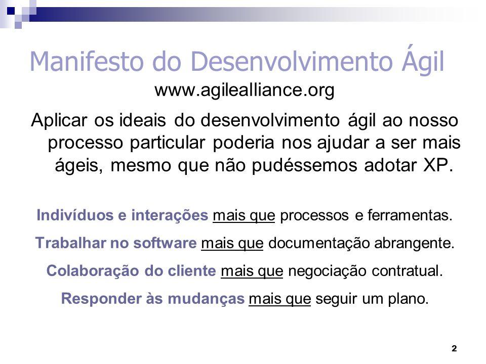 2 2 Manifesto do Desenvolvimento Ágil www.agilealliance.org Aplicar os ideais do desenvolvimento ágil ao nosso processo particular poderia nos ajudar a ser mais ágeis, mesmo que não pudéssemos adotar XP.