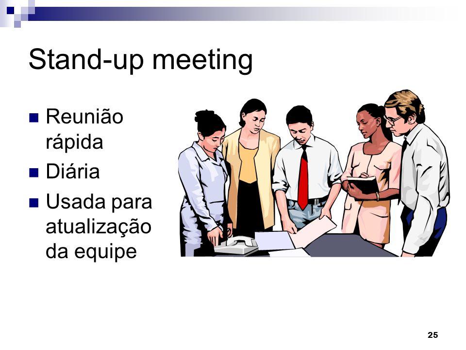 25 Stand-up meeting Reunião rápida Diária Usada para atualização da equipe