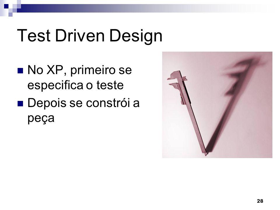 28 Test Driven Design No XP, primeiro se especifica o teste Depois se constrói a peça