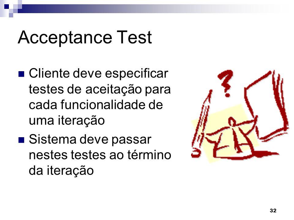 32 Acceptance Test Cliente deve especificar testes de aceitação para cada funcionalidade de uma iteração Sistema deve passar nestes testes ao término da iteração