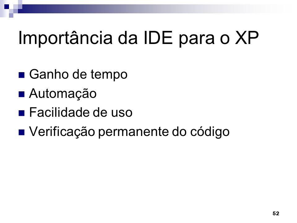 52 Importância da IDE para o XP Ganho de tempo Automação Facilidade de uso Verificação permanente do código