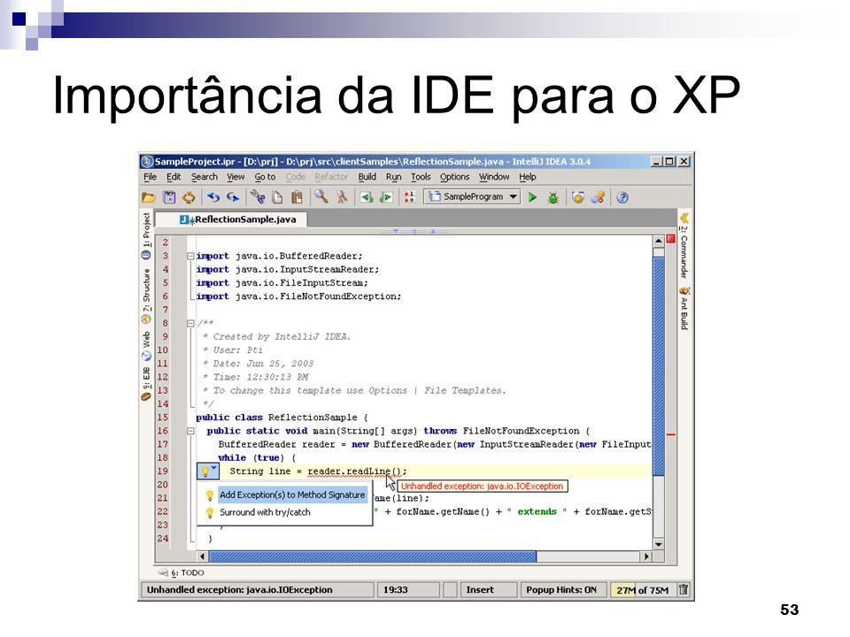 53 Importância da IDE para o XP