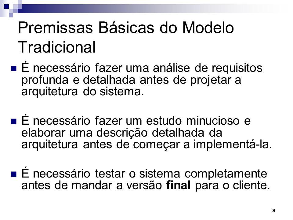 8 8 Premissas Básicas do Modelo Tradicional É necessário fazer uma análise de requisitos profunda e detalhada antes de projetar a arquitetura do siste