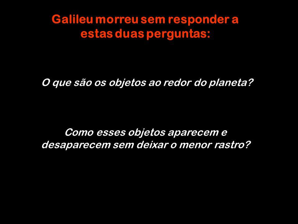 Galileu morreu sem responder a estas duas perguntas: O que são os objetos ao redor do planeta? Como esses objetos aparecem e desaparecem sem deixar o