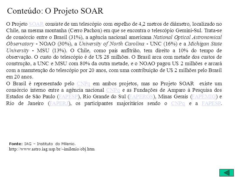 Conteúdo: O Projeto SOAR O Projeto SOAR consiste de um telescópio com espelho de 4,2 metros de diâmetro, localizado no Chile, na mesma montanha (Cerro