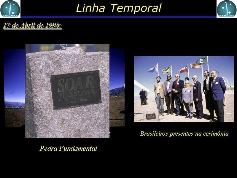 Linha Temporal 17 de Abril de 1998: Local onde irá a Pedra Fundamental Brasileiros presentes na cerimônia Pedra Fundamental