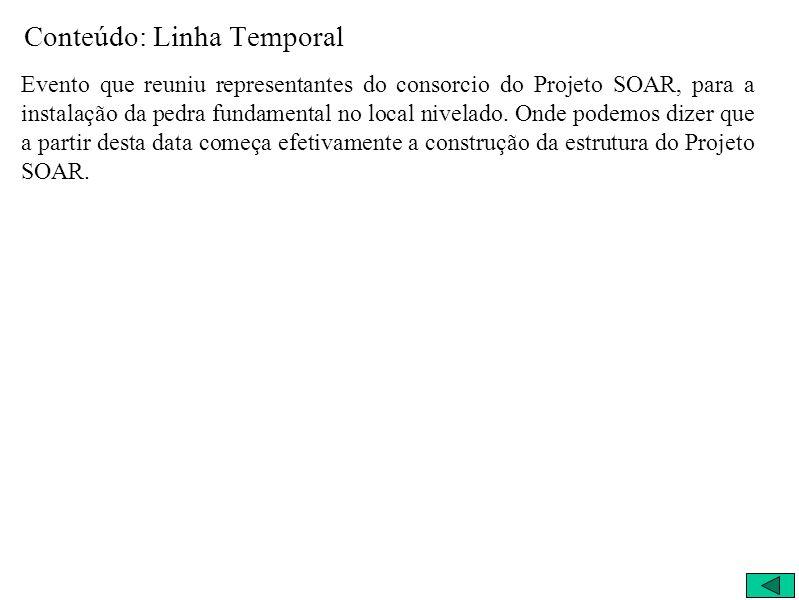 Conteúdo: Linha Temporal Evento que reuniu representantes do consorcio do Projeto SOAR, para a instalação da pedra fundamental no local nivelado. Onde