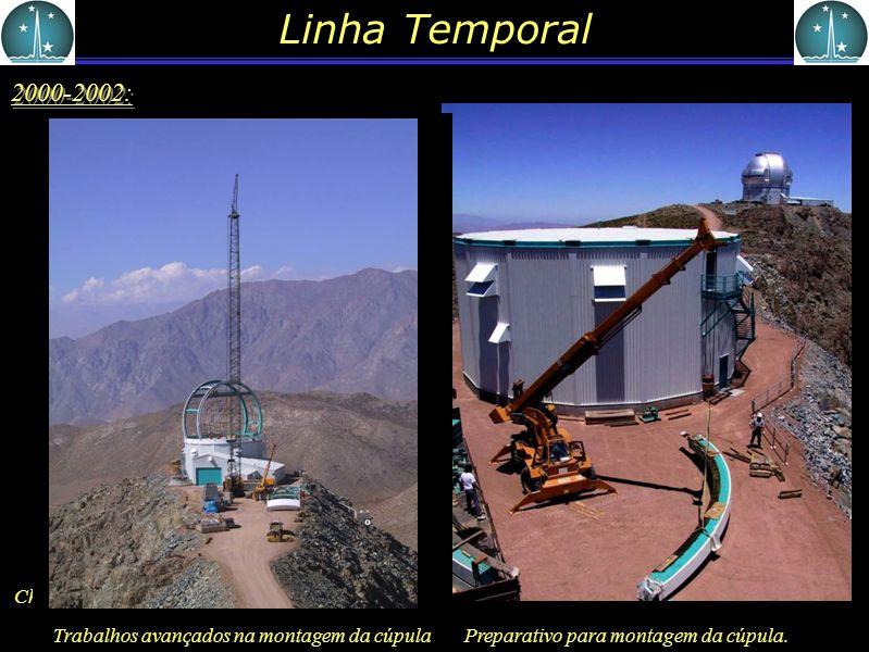 Linha Temporal 2000-2002: Chegada da cúpula desmontada em Cerro Pachon Preparativo para montagem da cúpula. Trabalhos avançados na montagem da cúpula
