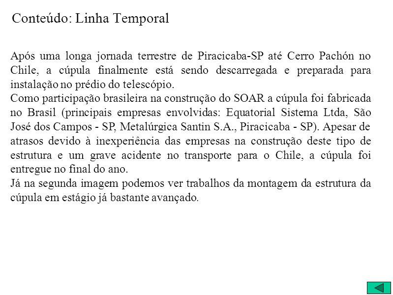 Conteúdo: Linha Temporal Após uma longa jornada terrestre de Piracicaba-SP até Cerro Pachón no Chile, a cúpula finalmente está sendo descarregada e pr