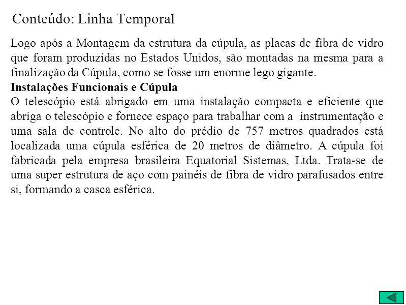 Conteúdo: Linha Temporal Logo após a Montagem da estrutura da cúpula, as placas de fibra de vidro que foram produzidas no Estados Unidos, são montadas