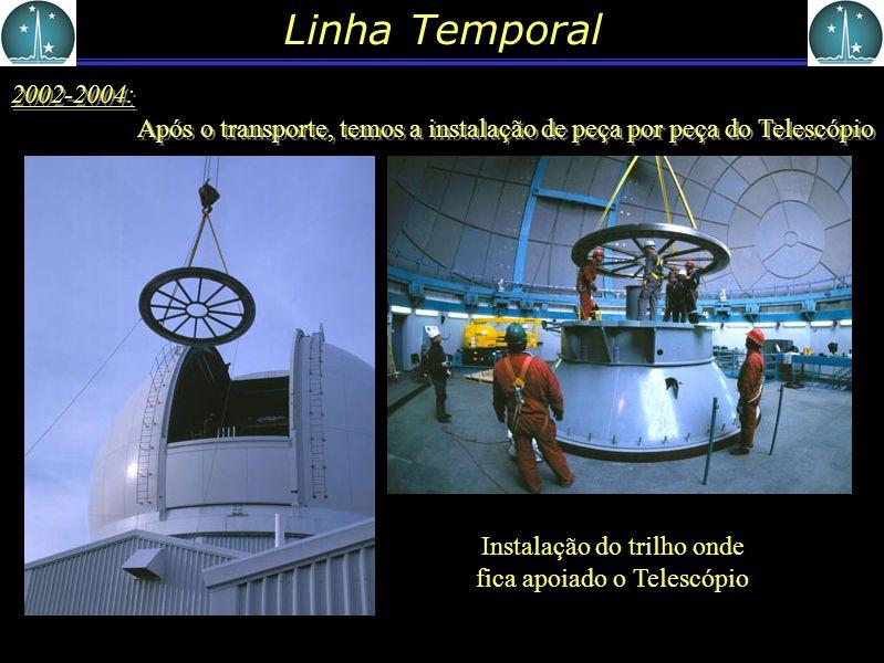 Linha Temporal 2002-2004: Após o transporte, temos a instalação de peça por peça do Telescópio Instalação do trilho onde fica apoiado o Telescópio