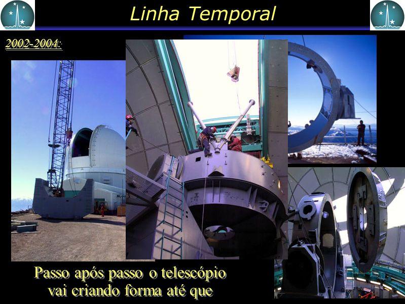 Linha Temporal 2002-2004: Passo após passo o telescópio vai criando forma até que
