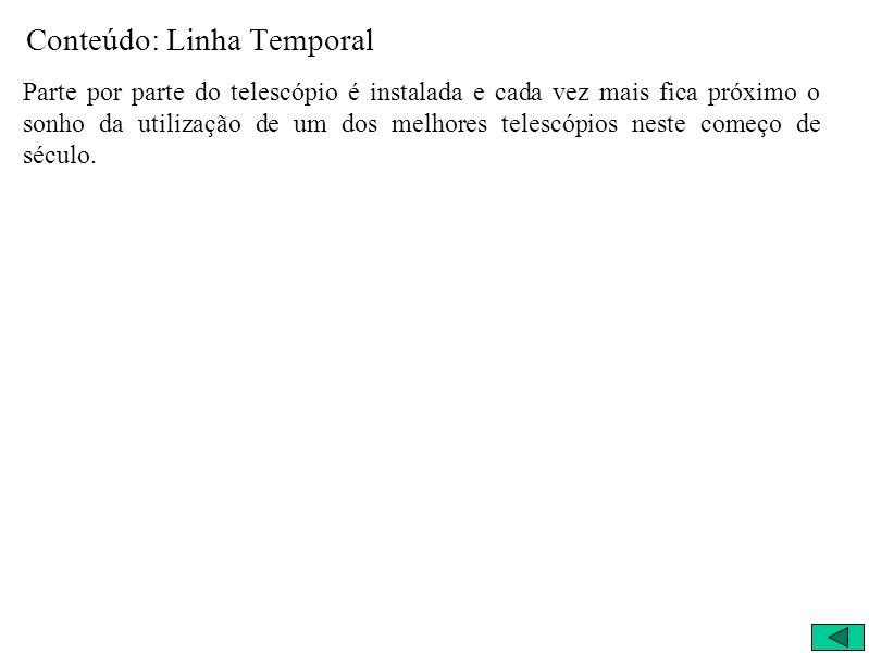 Conteúdo: Linha Temporal Parte por parte do telescópio é instalada e cada vez mais fica próximo o sonho da utilização de um dos melhores telescópios n