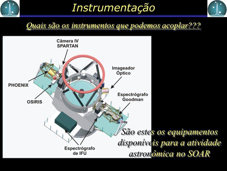 Instrumentação Quais são os instrumentos que podemos acoplar??? São estes os equipamentos disponíveis para a atividade astronômica no SOAR
