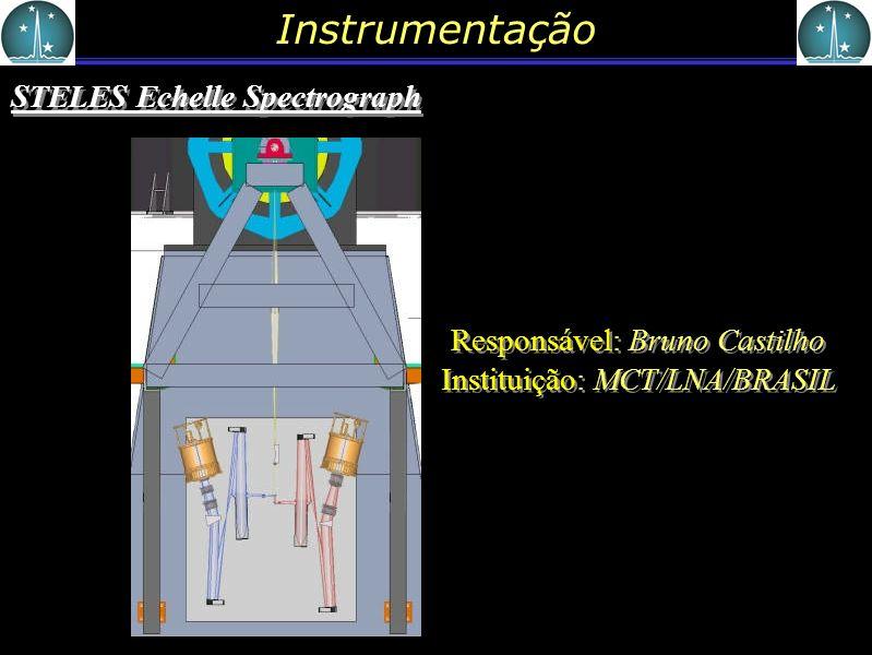 Instrumentação STELES Echelle Spectrograph Responsável: Bruno Castilho Instituição: MCT/LNA/BRASIL