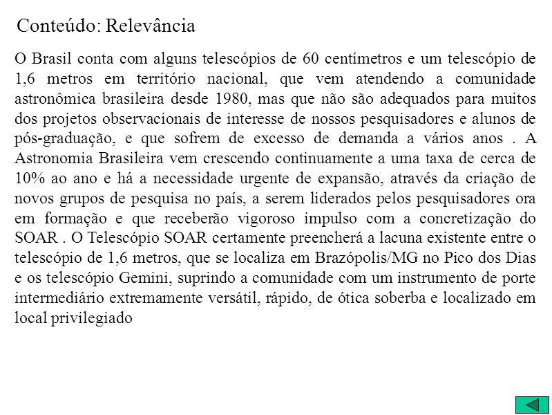 Conteúdo: Relevância O Brasil conta com alguns telescópios de 60 centímetros e um telescópio de 1,6 metros em território nacional, que vem atendendo a
