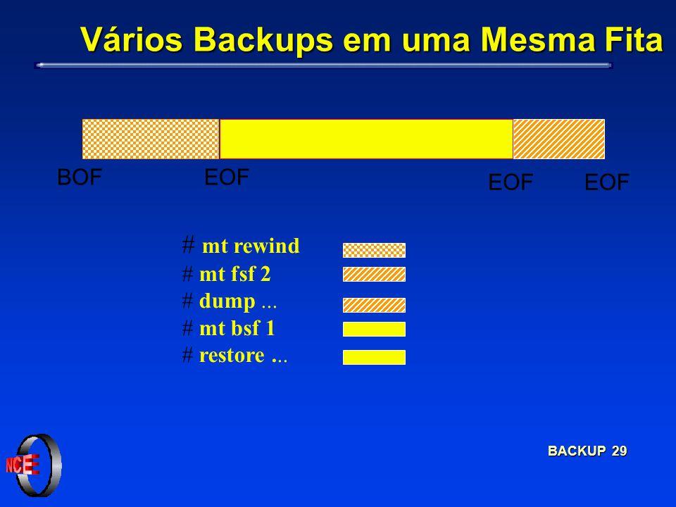BACKUP 29 # mt rewind # mt fsf 2 # dump... # mt bsf 1 # restore... EOF BOF Vários Backups em uma Mesma Fita