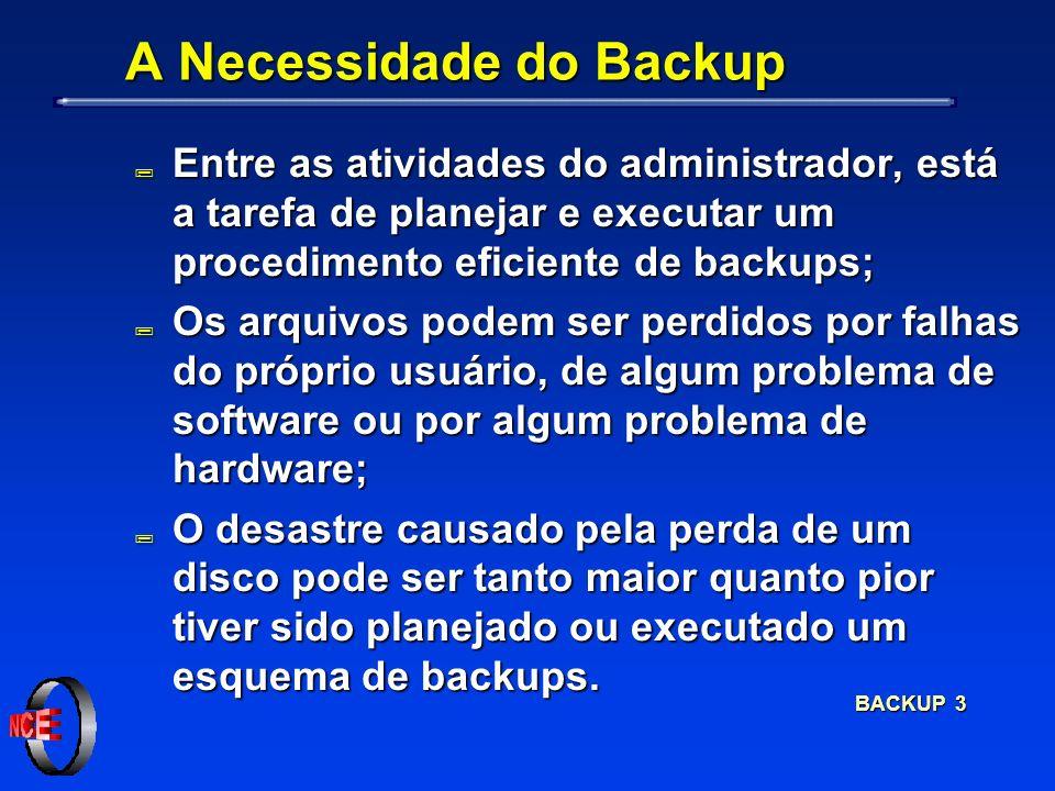 BACKUP 3 A Necessidade do Backup ; Entre as atividades do administrador, está a tarefa de planejar e executar um procedimento eficiente de backups; ;