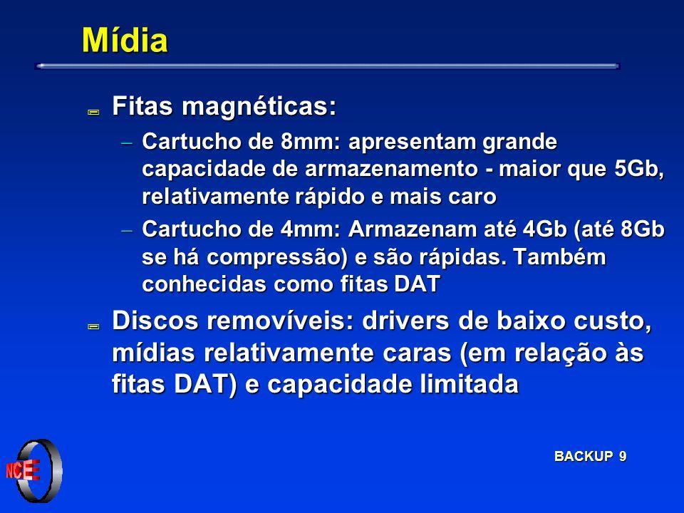 BACKUP 9 Mídia ; Fitas magnéticas: Cartucho de 8mm: apresentam grande capacidade de armazenamento - maior que 5Gb, relativamente rápido e mais caro Cartucho de 8mm: apresentam grande capacidade de armazenamento - maior que 5Gb, relativamente rápido e mais caro Cartucho de 4mm: Armazenam até 4Gb (até 8Gb se há compressão) e são rápidas.