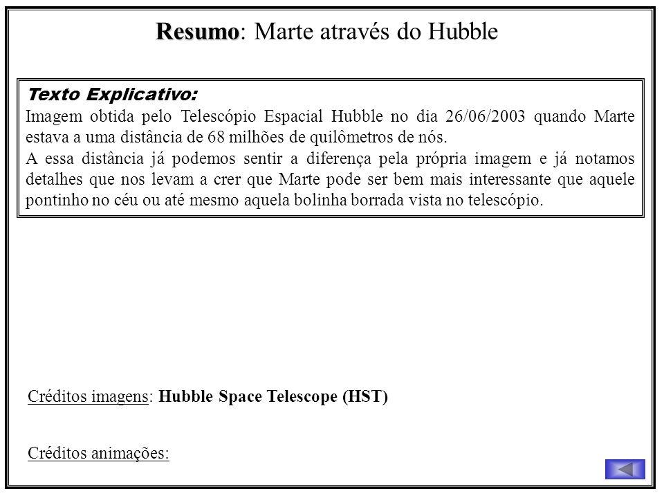 Resumo Resumo: Marte através do Hubble Texto Explicativo: Imagem obtida pelo Telescópio Espacial Hubble no dia 26/06/2003 quando Marte estava a uma di