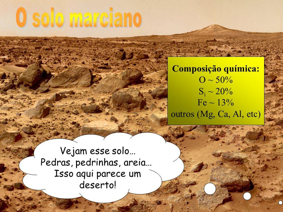 Vejam esse solo… Pedras, pedrinhas, areia… Isso aqui parece um deserto! Composição química: O ~ 50% S i ~ 20% Fe ~ 13% outros (Mg, Ca, Al, etc)